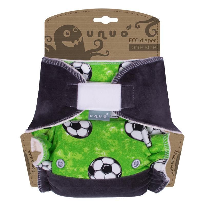 Kalhotová plena Unuo One Size na suchý zip - Kopačák na zelené, s antracitovou (Jednovelikostní kalhotová plena na sz - neobsahuje vkládací pleny)