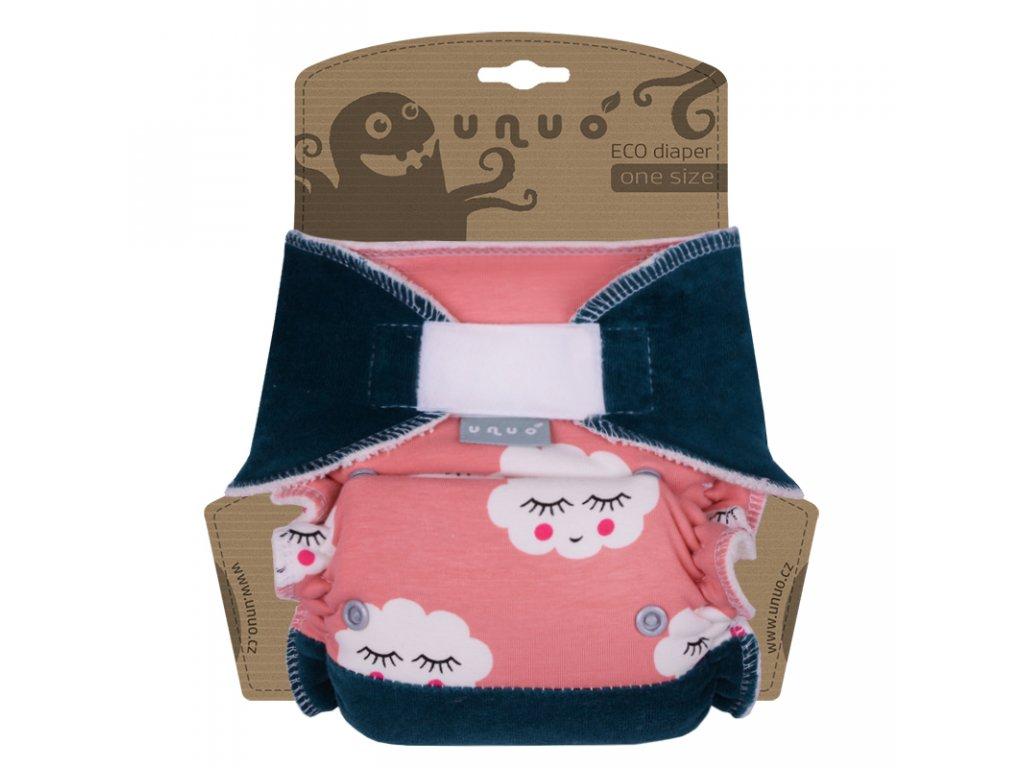 Kalhotová plena Unuo One Size na suchý zip - Mráčky s petrolejovou (Jednovelikostní kalhotová plena na sz - neobsahuje vkládací pleny)