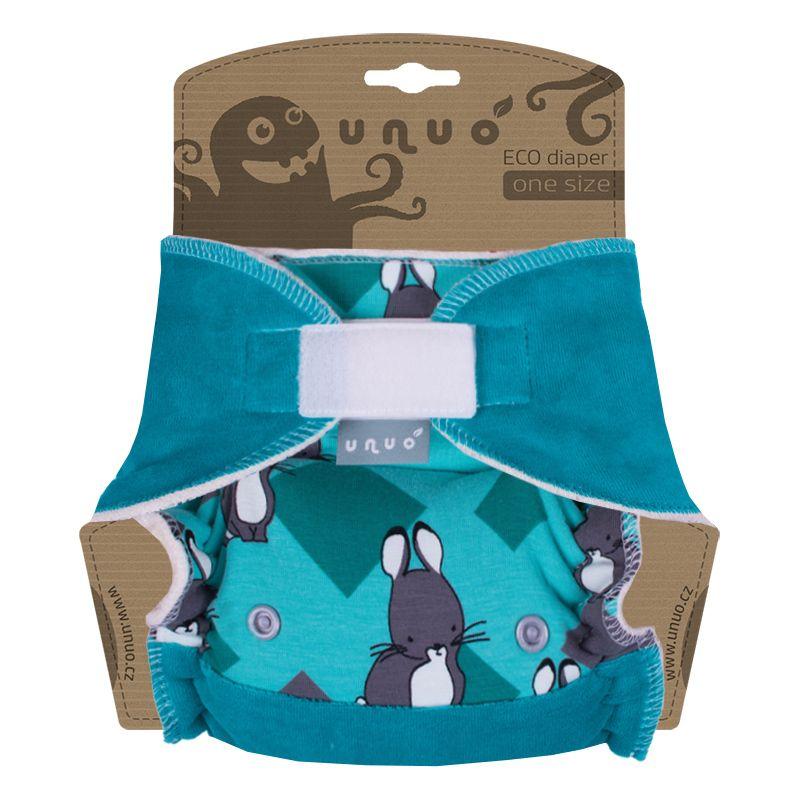 Kalhotová plena Unuo Super size/Night na suchý zip - Králíčci na mentolové (Jednovelikostní kalhotová plena na sz - neobsahuje vkládací pleny)