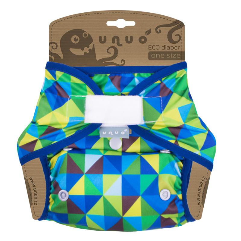 Svrchní PUL kalhotky Unuo na suchý zip - Triangl modrozelený (Jednovelikostní svrchní PUL Unuo s křidélky na sz)