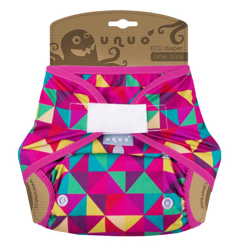 Svrchní PUL kalhotky Unuo na suchý zip - Triangl růžový (Jednovelikostní svrchní PUL Unuo s křidélky na sz)