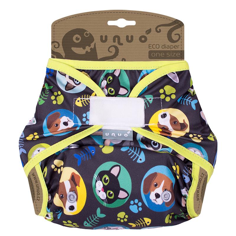 Svrchní PUL kalhotky Unuo na suchý zip - Kočka a pes se gumička limetková (Jednovelikostní svrchní PUL Unuo bez křidélek na sz)