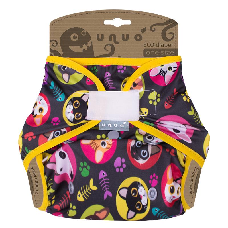 Svrchní PUL kalhotky Unuo na suchý zip - Kočka a pes gumička žlutá (Jednovelikostní svrchní PUL Unuo bez křidélek na sz)