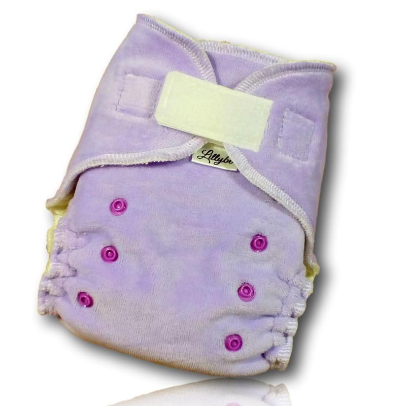 Kalhotová plena Lillybe na suchý zip plyš/aksamit - fialová (Jenovelikostní kalhotová plena na suchý zip - obsahuje dlouhou a krátkou vkládací plenu)