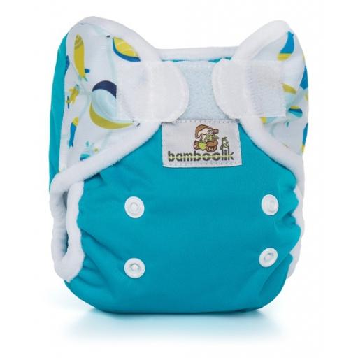 Bamboolik MiniMimi svrchní kalhotkyTyrkys + Vzducholodě (novorozenecké svrchní PUL kalhotky)