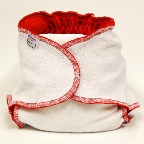 Kalhotková plena na snappi sponku Yháček, červená (Jednovelikostní kalhotová plena - Obsahuje krátkou vkládací plenu)