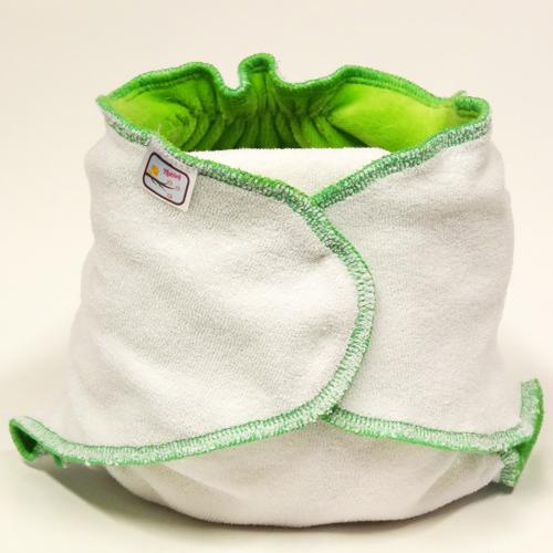 Kalhotková plena na snappi sponku Yháček, zelená (Jednovelikostní kalhotová plena - Obsahuje krátkou vkládací plenu)