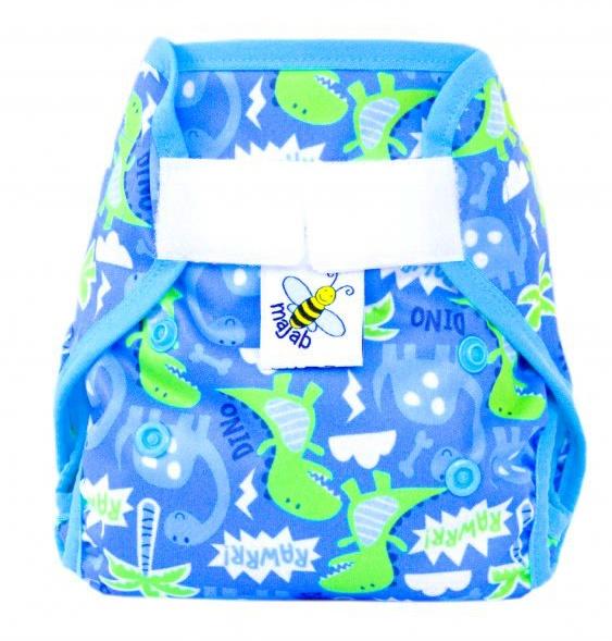 3584743b550 Novorozenecké svrchní PUL kalhotky Majab na sz (super AIR PUL) - Dino  (lemování tyrkysová)