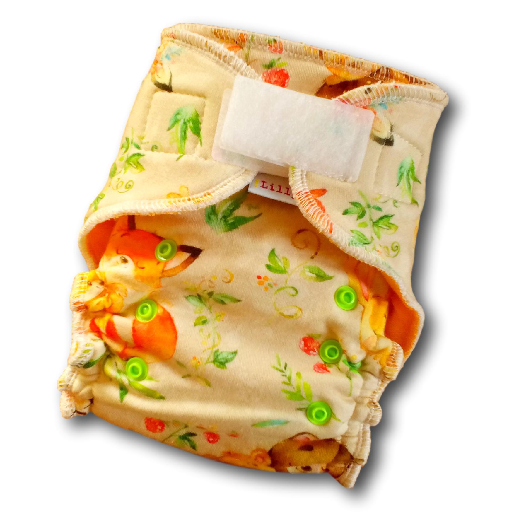 Kalhotová plena Lillybe na suchý zip NOVÁ - Lesní zvířátka (Jenovelikostní kalhotová plena NOVÁ - obsahuje dlouhou vkládací plenu)