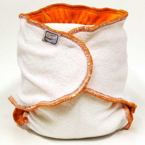 Kalhotková plena na snappi sponku Yháček, oranžová (Jednovelikostní kalhotová plena - Obsahuje krátkou vkládací plenu)