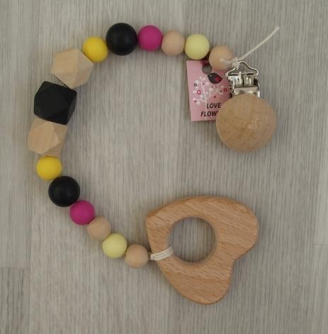 Kousátko LoveFlowers s dřevěným klipem (Kousátko a hračka v jednom)