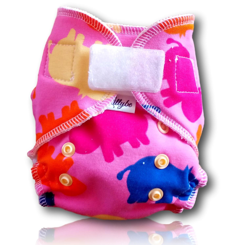 Novorozenecká kalhotová plena Lillybe na suchý zip - Hrošíci (Novorozenecká plena Lillybe - obsahuje krátkou vkládací plenu)