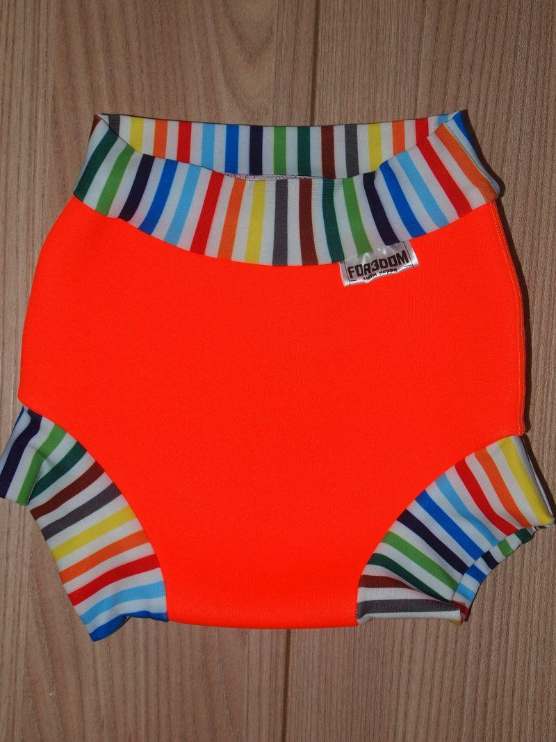 Swim nappy - oranžové s pruhy, velikost M (Swim nappy - neoprenové plavací plenky)