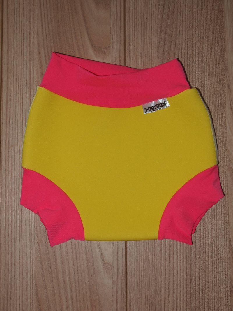 Swim nappy - žluté s růžovou, velikost L (Swim nappy - neoprenové plavací plenky)