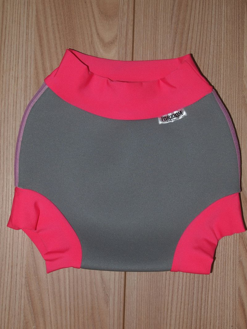 Swim nappy - šedé s růžovou, velikost XL (Swim nappy - neoprenové plavací plenky)