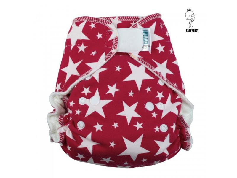 Kalhotová plena Katyv Baby na suchý zip - Hvězdy na červené (Jednovelikostní kalhotová plena na sz obsahuje krátkou a dlouhou vkládací plenu)