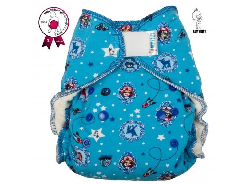 Kalhotková plena Katyv Baby na suchý zip - Letem světem (Jednovelikostní kalhotová plena na sz obsahuje krátkou a dlouhou vkládací plenu)