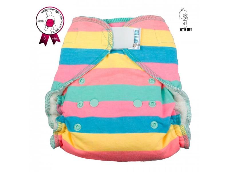 Kalhotková plena Katyv Baby na suchý zip - Pruhy neon (Jednovelikostní kalhotová plena na sz obsahuje krátkou a dlouhou vkládací plenu)