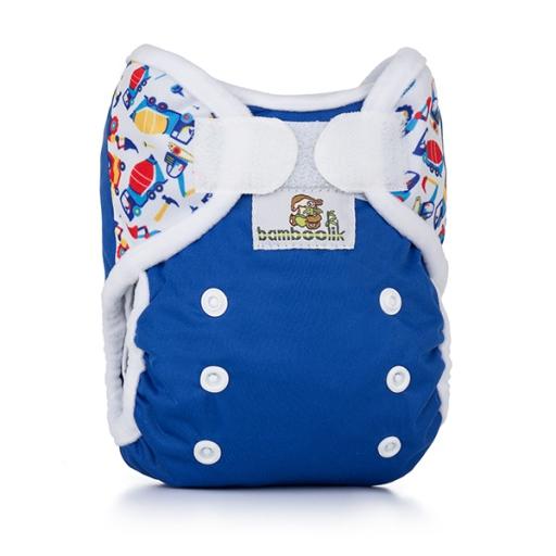 Bamboolik MiniMimi svrchní kalhotky 2018 - Modrá + Bagry (novorozenecké svrchní PUL kalhotky)