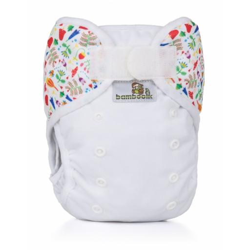 Svrchní kalhotky Bamboolik na suchý zip 2018 - Bílá + Louka (PUL svrchní kalhotky na sz)