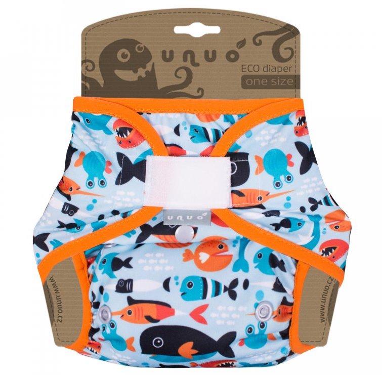 Svrchní PUL kalhotky Unuo na suchý zip - Rybičky v oceánu s oranžovou gumičkou (Jednovelikostní svrchní PUL Unuo s křidélky na sz)