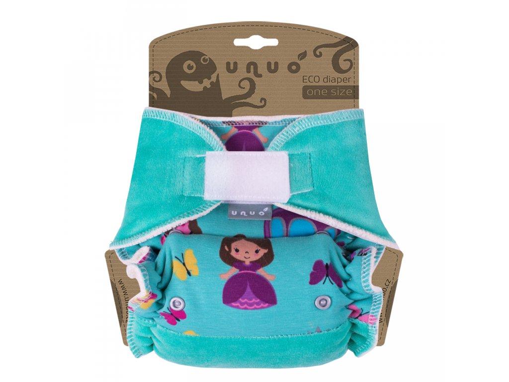 Kalhotová plena Unuo One Size na suchý zip - Princezna v kočáře s mentolovou (Jednovelikostní kalhotová plena na sz - neobsahuje vkládací pleny)