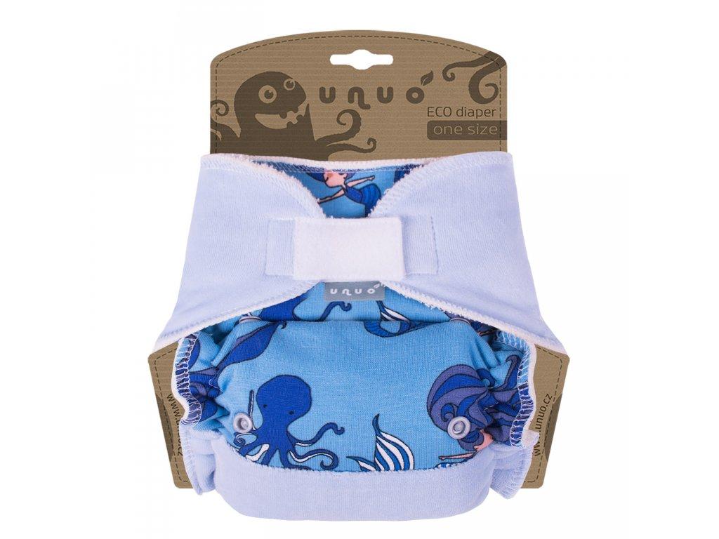Kalhotová plena Unuo One Size na suchý zip - Mořská panna modrá se sv. modrou (Jednovelikostní kalhotová plena na sz - neobsahuje vkládací pleny)