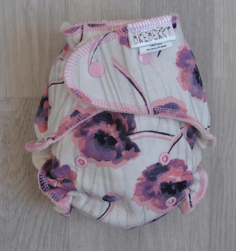 Kalhotová plena Breberky na patentky - Máky růžové (Jednovelikostní kalhotová plena Breberky