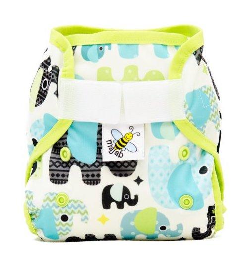 Novorozenecké svrchní PUL kalhotky Majab na suchý zip - Sloni tyrkysoví (Novorozenecké svrchní PUL kalhotky)