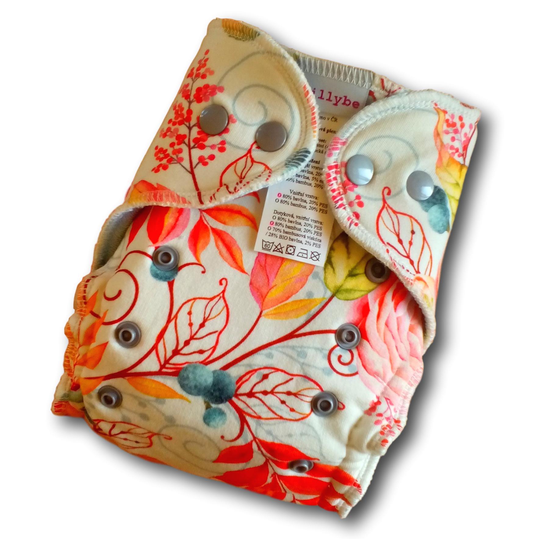 Kalhotová plena Lillybe na patentky - Podzimní ptáčci (Jednovelikostní kalhotová plena NOVÁ - obsahuje dlouhou vkládací plenu)