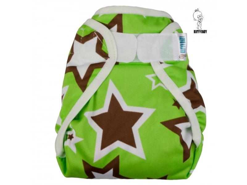 Novorozenecké svrchní PUL Katyv Baby na suchý zip - Hvězdy (Novorozenecké svrchní Katyv Baby)
