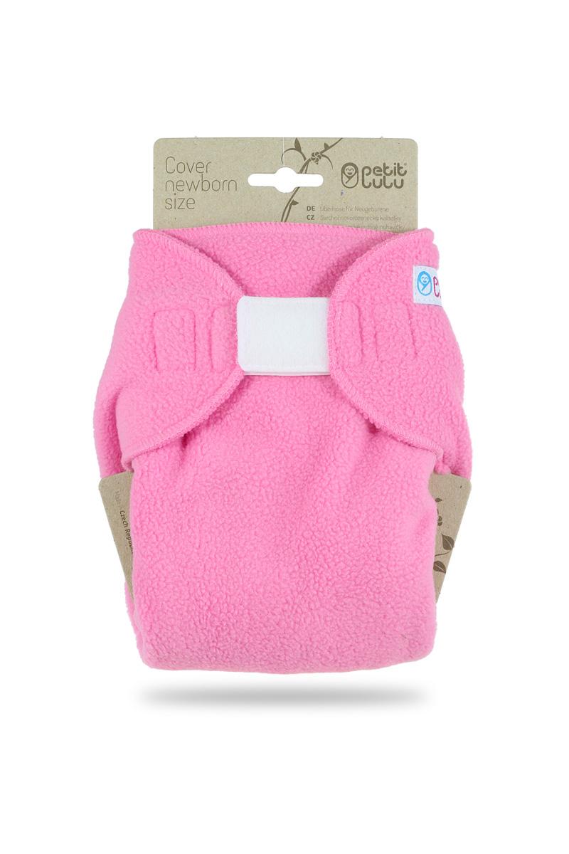 Novorozenecké svrchní flees kalhotky Petit Lulu na suchý zip - Růžové (Svrchní novorozenecké flees kalhotky)