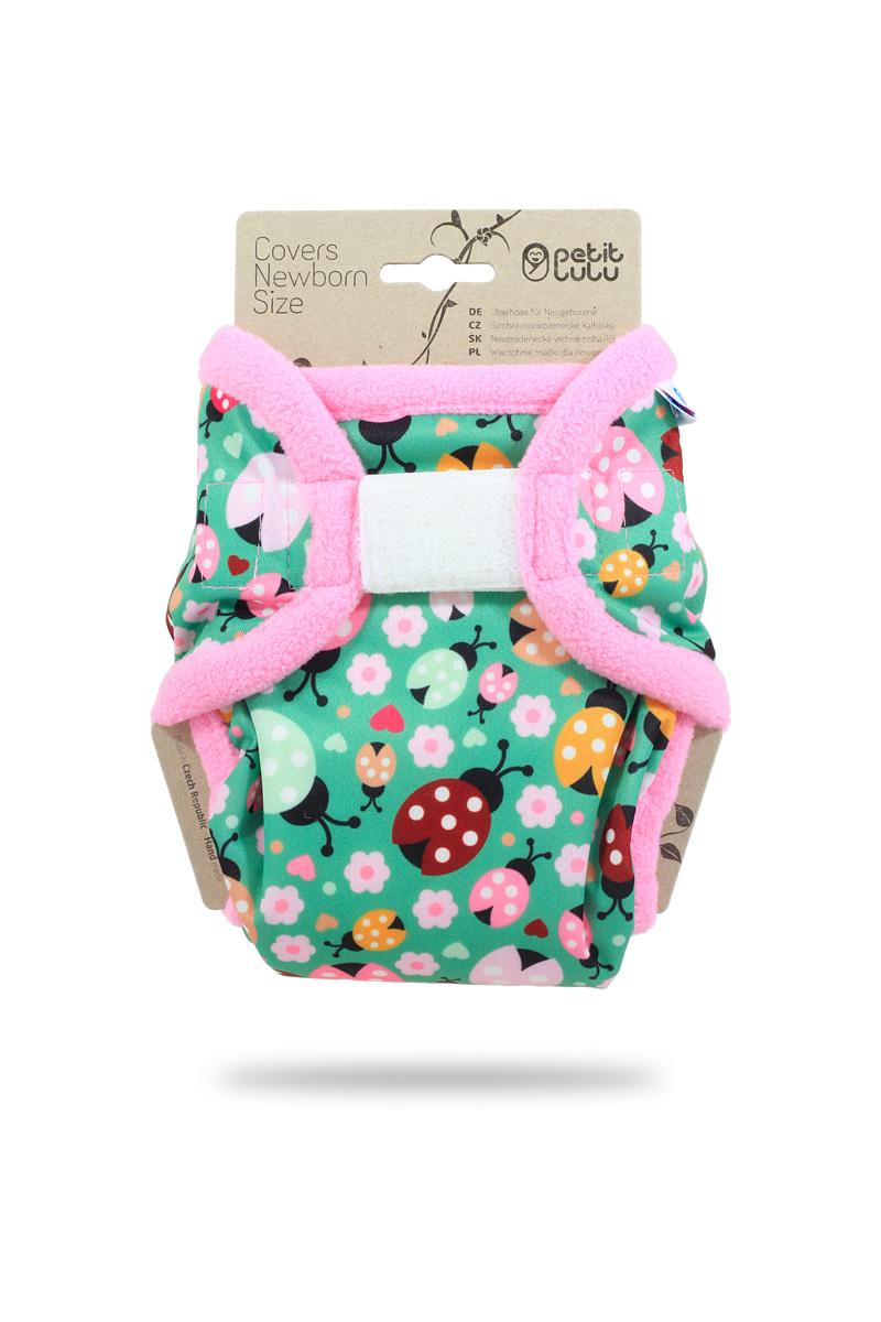 Novorozenecké svrchní PUL kalhotky Petit Lulu na suchý zip - Berušky (Novorozenecké svrchní kalhotky na sz)