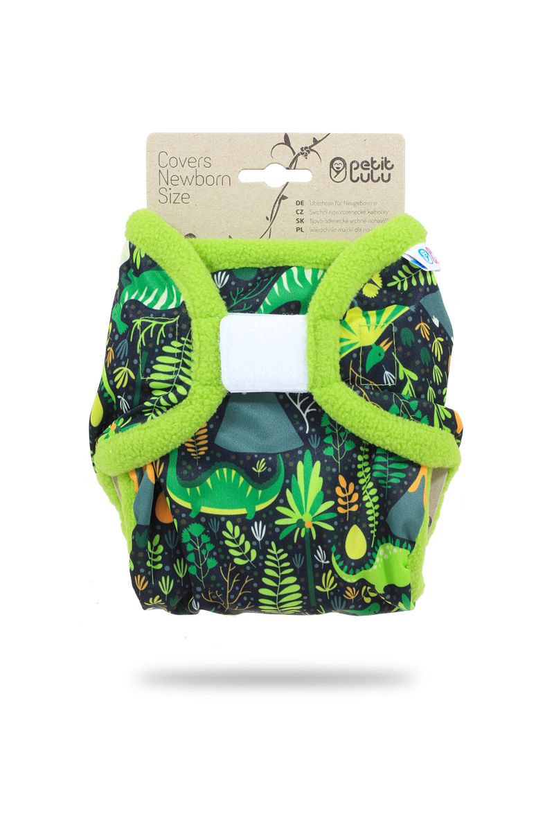 Novorozenecké svrchní PUL kalhotky Petit Lulu na suchý zip - Dinosauříci (Novorozenecké svrchní kalhotky na sz)