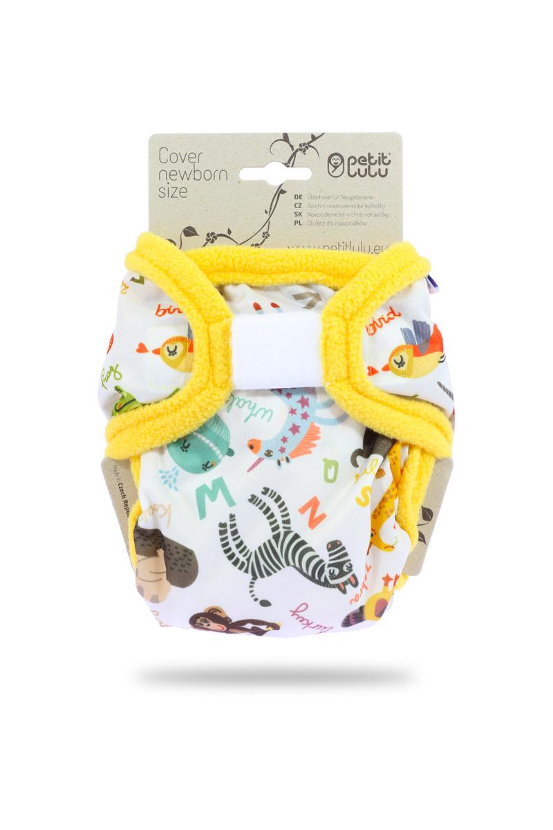 Novorozenecké svrchní PUL kalhotky Petit Lulu na suchý zip - Abeceda zvířátek (Novorozenecké svrchní kalhotky na sz)