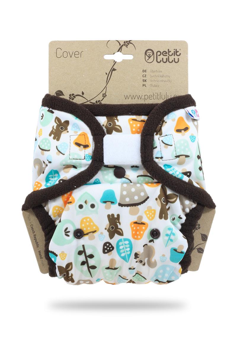 Svrchní PUL kalhotky Petit Lulu na suchý zip - Houbičky (Jednovelikostní svrchní PUL kalhotky)