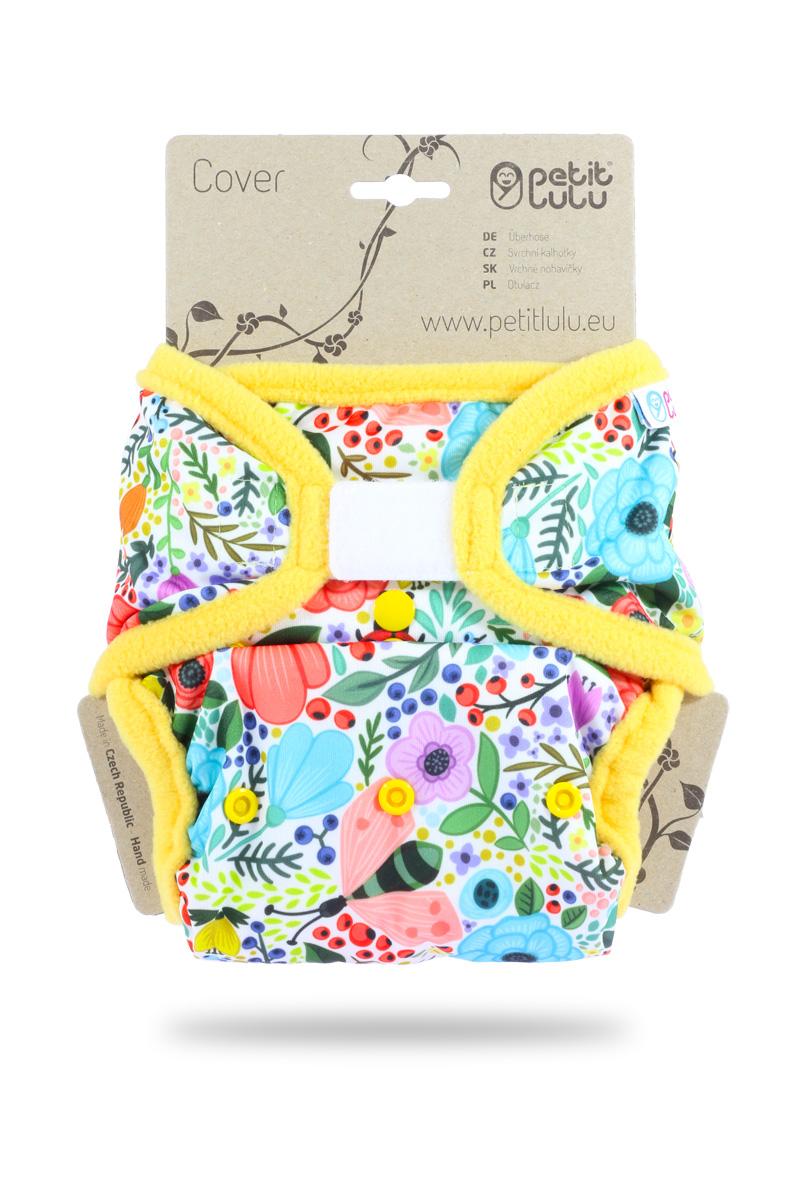 Svrchní PUL kalhotky Petit Lulu na suchý zip - Rozkvetlá zahrada (Jednovelikostní svrchní PUL kalhotky na sz)
