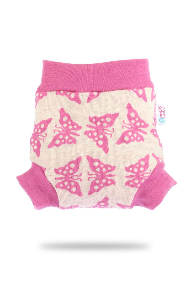 Vlněné svrchní kalthoky Petit Lulu velikost S - Růžoví motýlci (Vlněné svrchní kalhotky vel. S)