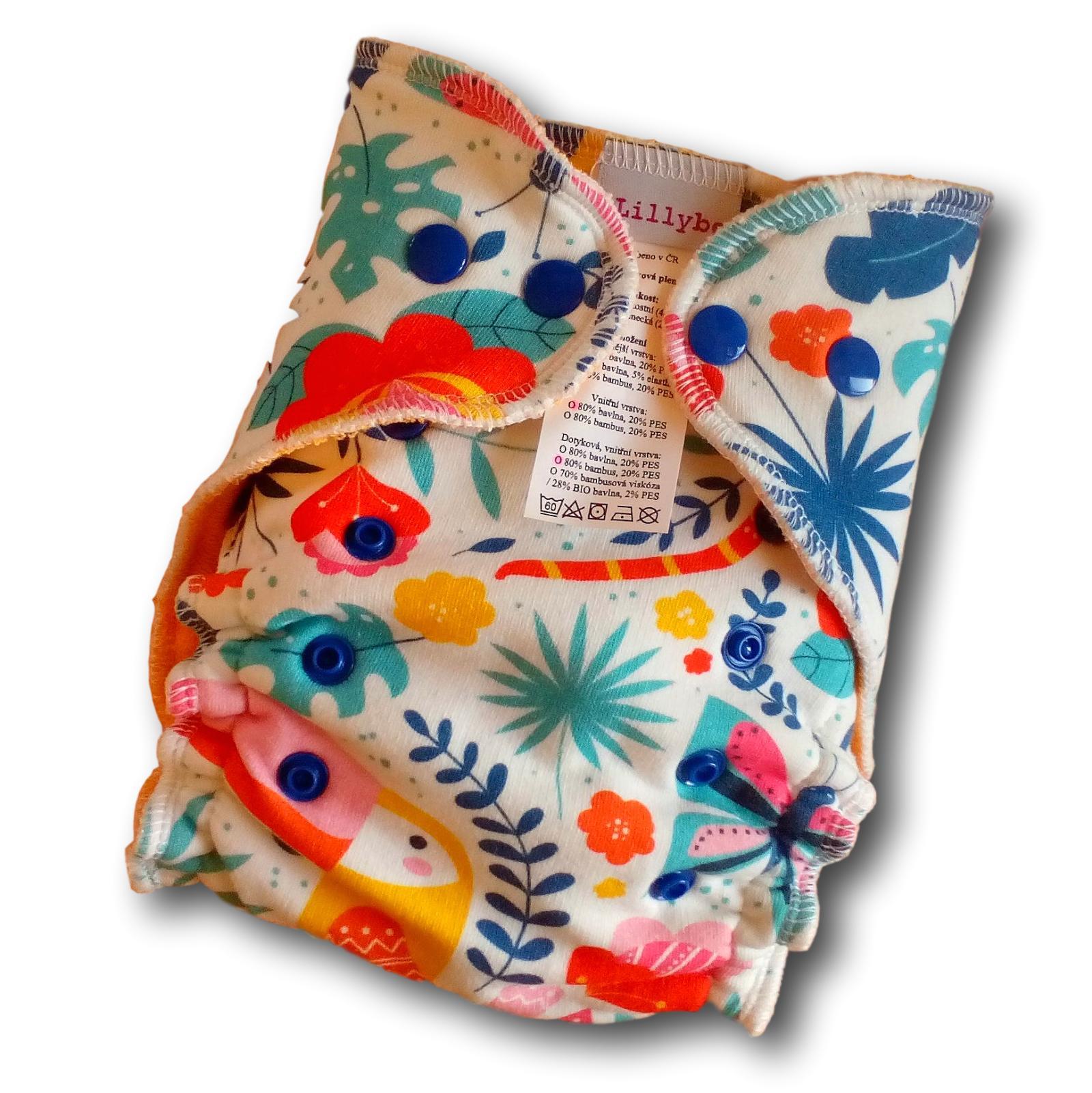 Kalhotová plena Lillybe na patentky - barevná džungle (Jednovelikostní kalhotová plena NOVÁ - obsahuje dlouhou vkládací plenu)