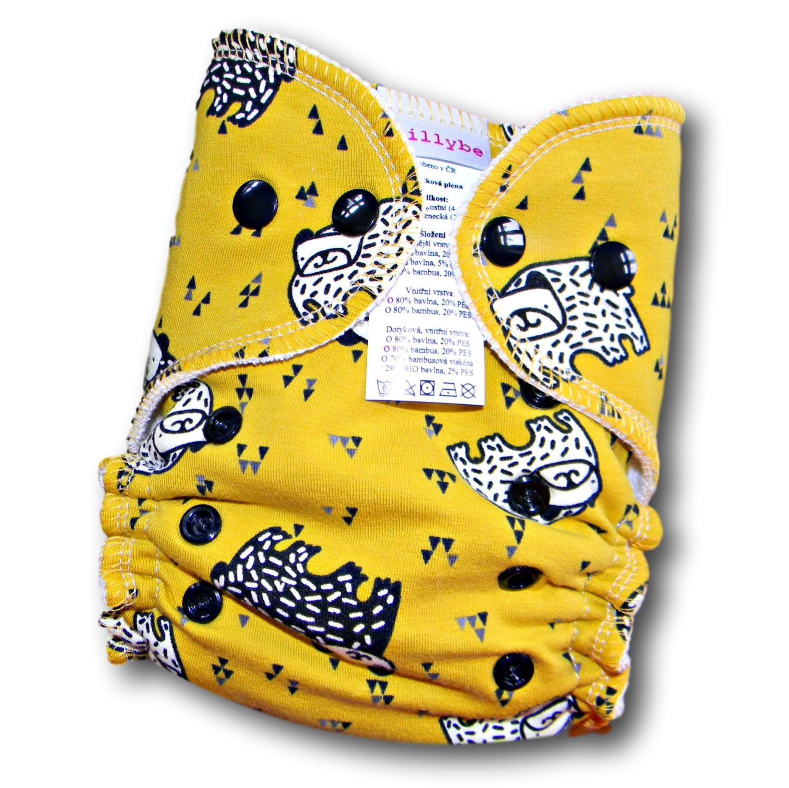 Kalhotová plena Lillybe na patentky - Medvědi (Jednovelikostní kalhotová plena NOVÁ - obsahuje dlouhou vkládací plenu)