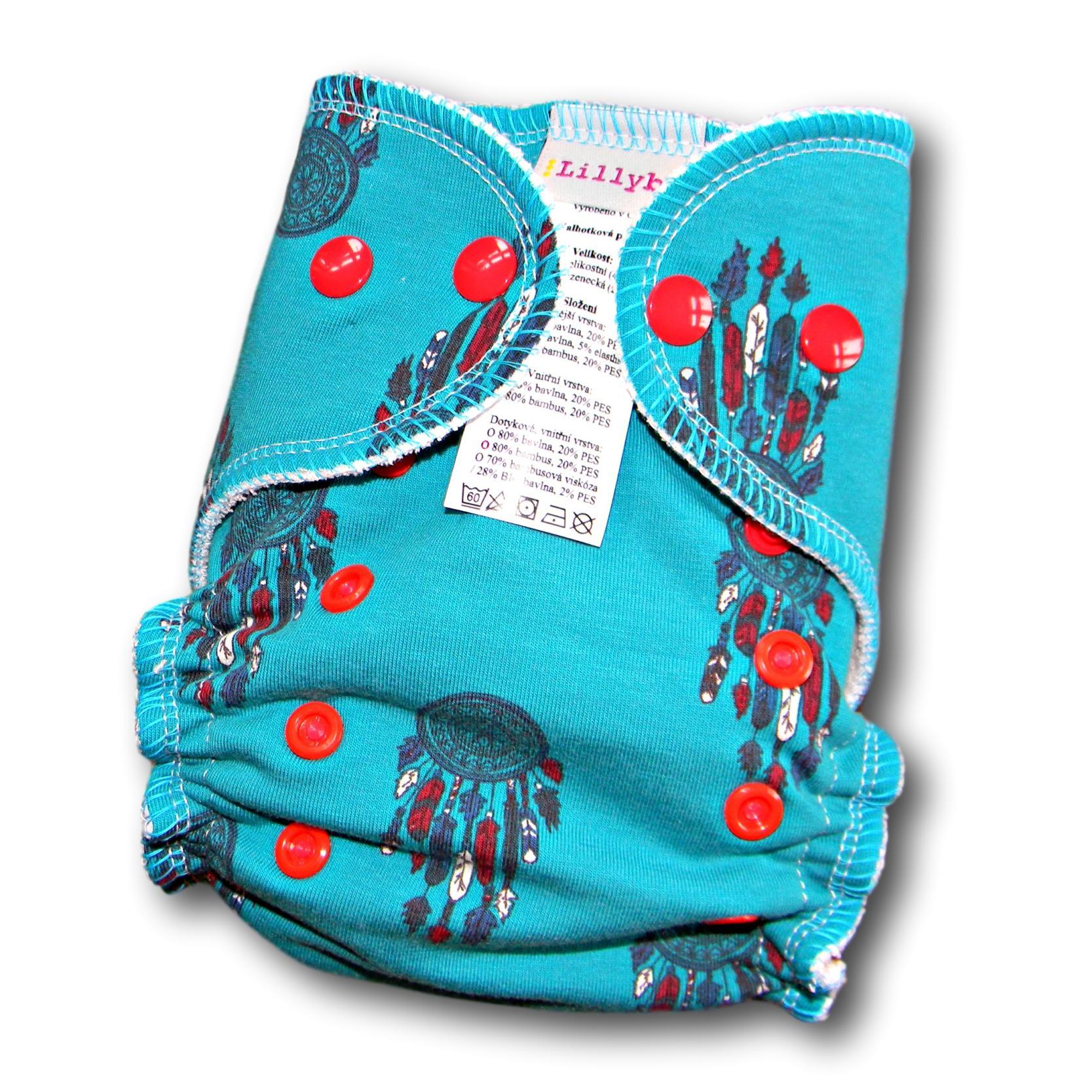 Kalhotová plena Lillybe na patentky - Lapače (Jednovelikostní kalhotová plena NOVÁ - obsahuje dlouhou vkládací plenu)