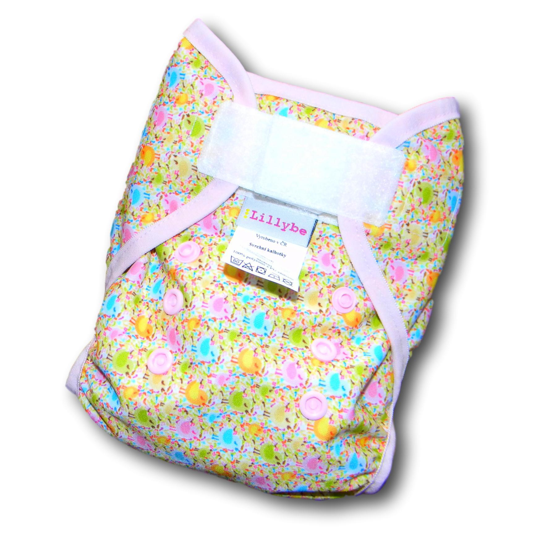 Svrchní kalhotky novorozenecké Lillybe SZ. ptáčci růžoví (Novorozenecké svrchní kalhotky 2-9 kg)