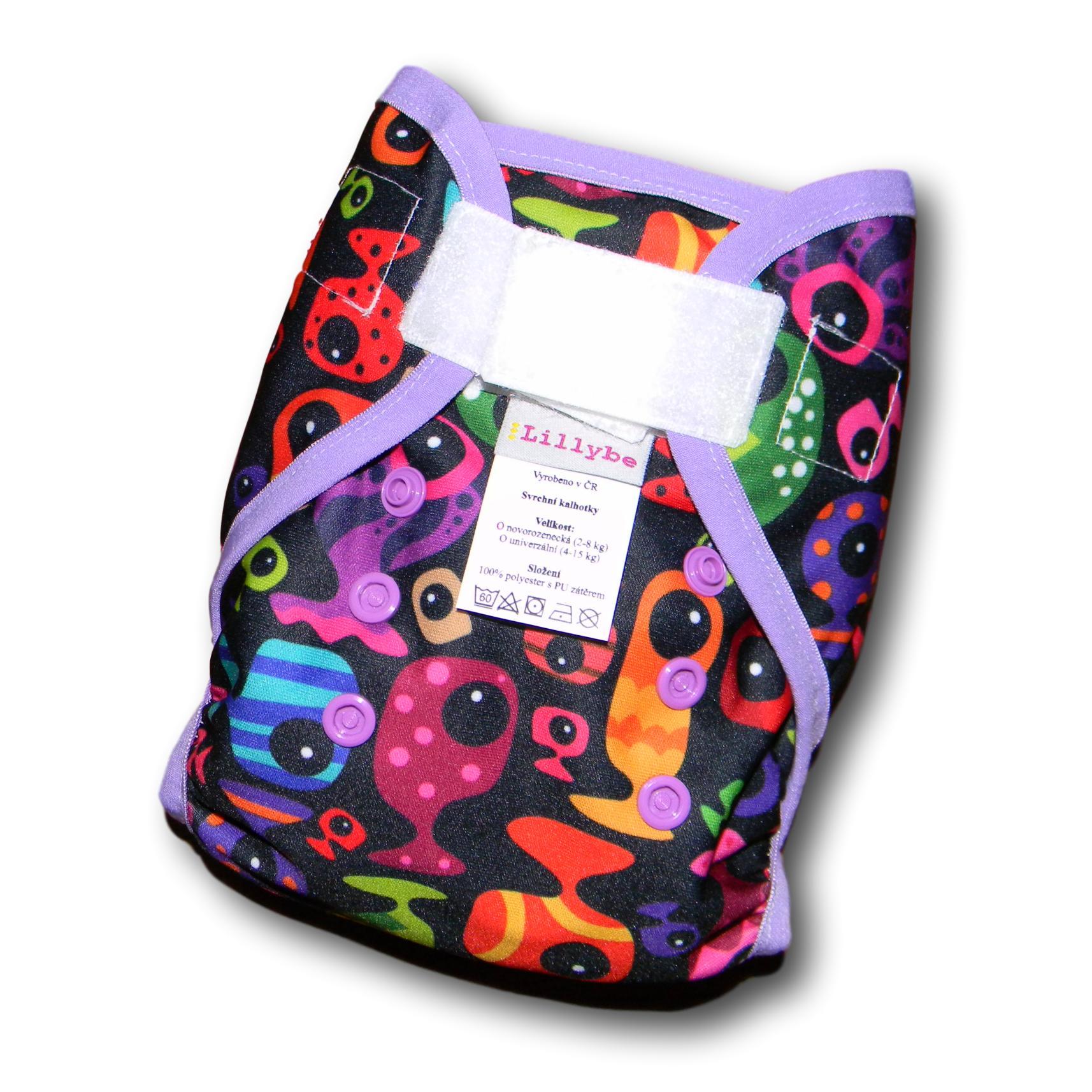 Svrchní kalhotky novorozenecké Lillybe SZ. rybky do fialova 1 (Novorozenecké svrchní kalhotky 2-9 kg)