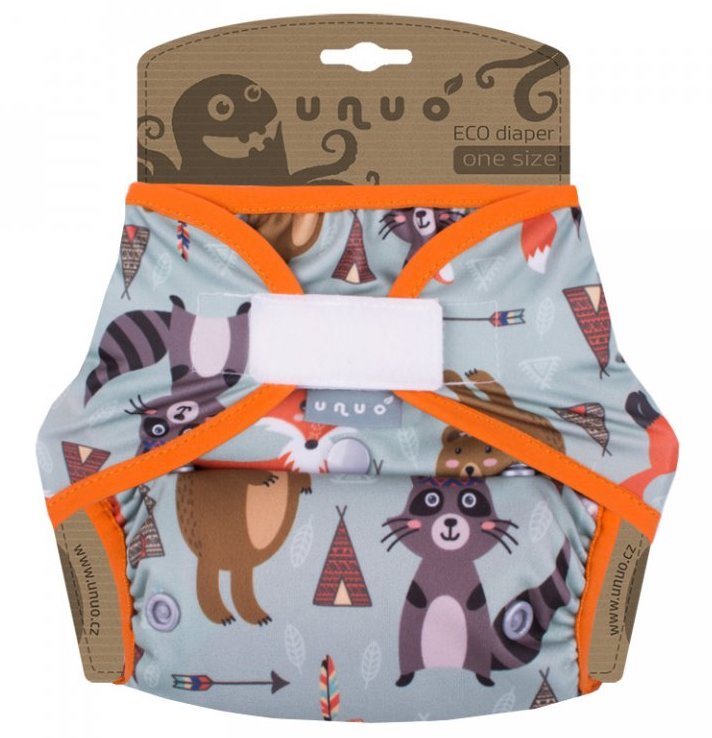Svrchní PUL kalhotky Unuo na suchý zip - Indiálnská zvířátka s gumičkou oranžovo (Jednovelikostní svrchní PUL Unuo bez křidélek na sz)