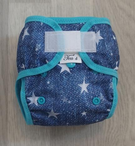 Novorozecké svrchní PUL kalhotky Teas na sz - Hvězdy tyrkys (Novorozenecké svrchní PUL Teas)